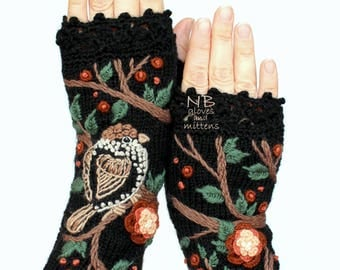 Knitted Fingerless Gloves, Sparrow, Flowers, Tree, Black, Brown, Peach, Beige, Ivory, Long,Accessories,Gloves & Mittens