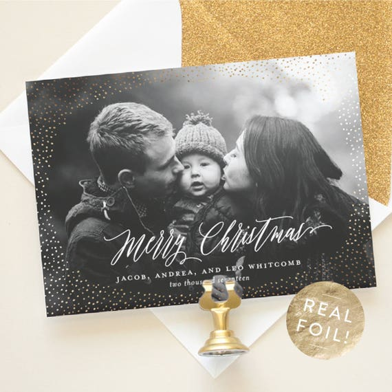 Christmas Photo Card with Gold Foil, Personalized Christmas Cards for Photo, Real Foil Pressed Cards with Custom Holiday Greeting | Shimmer