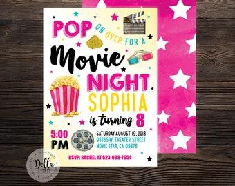 Movie Birthday Invitation, Movie Invitation, Movie Invite, Pink, Movie Night, Hollywood, Theater, Outdoor Movie, Birthday Party, Popcorn