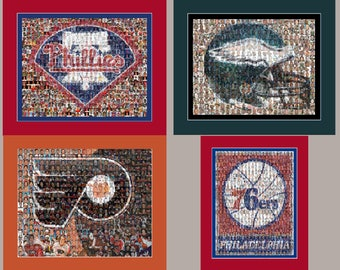 Philadelphia Sports Mosaic Print Art using Player Photos from the Phillies, Eagles, Flyers, 76ers. Four Matted Prints.