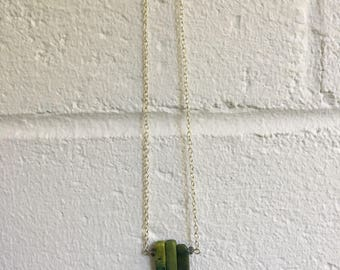 Green Crystal and Stone Beaded Necklace