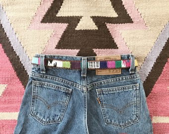 Child's Guatemalan Belt // Size 22 // 80's // Vintage // Bohemian // Kids // Toddler // Colorful // Leather // Woven // Fabric // Textile