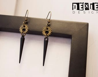 Black Spike and Gear Steampunk Earrings