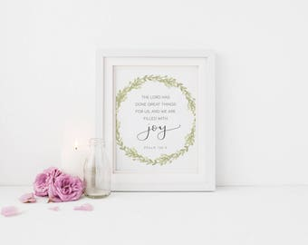 Filled With Joy - 5x7 or 8x10 Print - Hand Lettered - Calligraphy - The Lord has done great things for us - Psalm 126:3 - Scripture