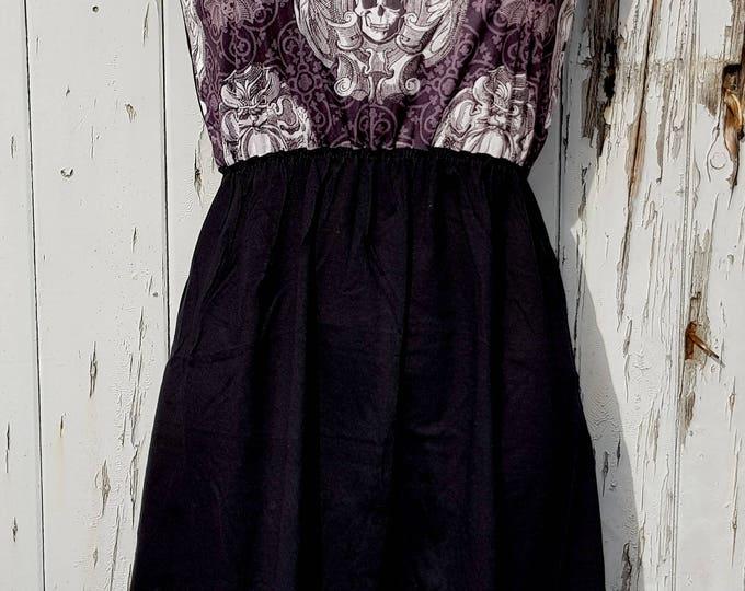 Gothic Skull & Bat Dress - Size 10 12 14 - Skater Rockabilly Lace Goth Halloween
