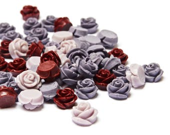 20 x Vintage Style Rose Cabochons 10mm (10 pairs)