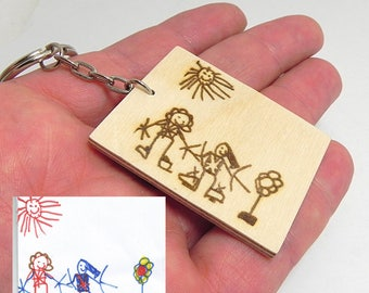 Kids drawing wooden key chain, actual child drawing keychain, kids art keychain, mother's gift, family gift, fathers gift