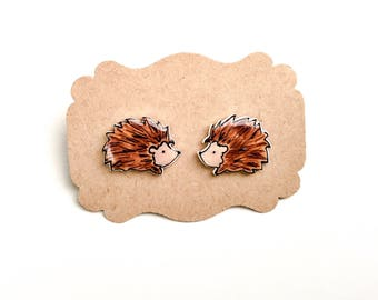 Tiny Hedgehog Stud Earrings //  hedgehog jewelry // Hedgehog Gift // gift for a friend // animal jewelry stud earrings