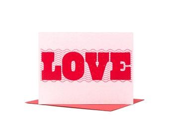 Love Valentine Card / Letterpress Card / Typographic Design / Love is Love / Anniversary Card / LGBTQ Card / Galentine's Day / Love Card