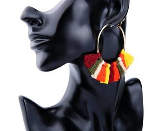 Popular tassel statement earring,big hoop earring,clip on earrings,clutch hoop earring,gold earring,big earring,handmade earring FJ0031