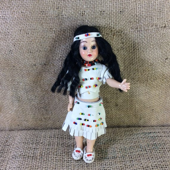 """Vintage hard plastic Indian doll, 7"""" Indian doll, vintage doll collectible, Indian decor, plastic doll, gift ideas, special doll gift"""
