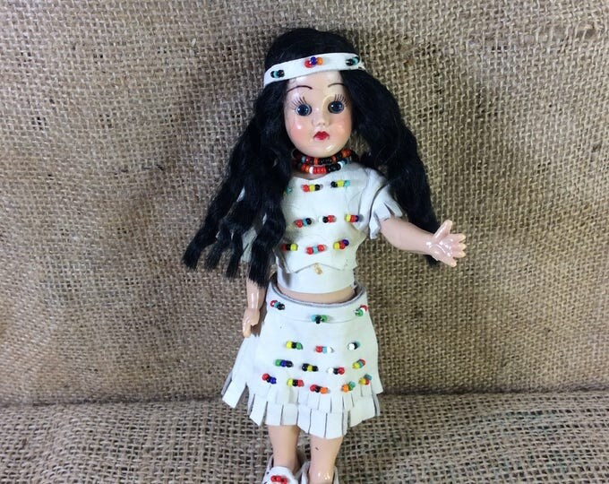 "Vintage hard plastic Indian doll, 7"" Indian doll, vintage doll collectible, Indian decor, plastic doll, gift ideas, special doll gift"