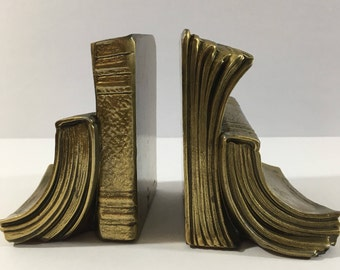 Mid Century, Brass, Bookends, Vintage, 50's, Pair, Set, Bronze, Book, Shaped, Marked, # 17B, USA, PMC, Philadelphia Manufacturing Company,