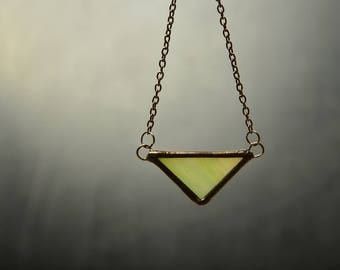 triangle glass pendant, geometric necklace, gift for mom, minimal jewelry, colorful pendant, women gift
