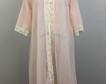 Vintage 60s 70s Pink n LACE Sheer Robe Duster Lingerie Gilead S/M