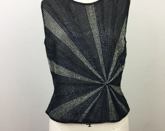 Vintage 90s STARBURST Beaded Party Top Black Silver Blue Silk Evening Tank Papéll Boutique S