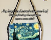 Customised Hand Painted Canvas Laptop Bag Satchel Artist Carry Case Messenger Bag