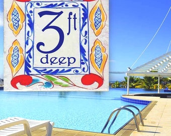 Swimming pool marker, Depth marker, Any design to match your décor, Custom Swimming pool numbers. Porcelain decorative pool grade tiles.