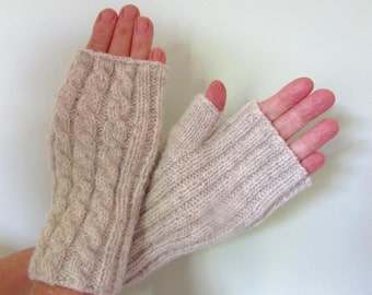 Knitting Kit for Fingerless Mittens - Cable & Rib - 4ply 100% Pure New Natural Wool