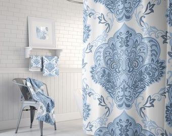 Shower Curtain Blue and White Damask, Shower Curtains,  Bathroom Set, Bath Towels, Bath Towel, Bath Mat, Bathroom Decor