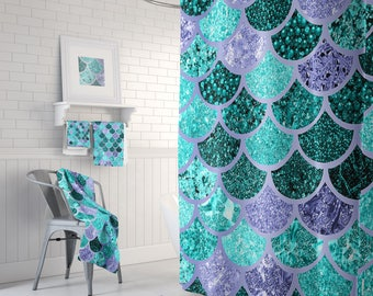 Mermaid Decor, Mermaid Bath Curtain, Mermaid Curtain, Mermaid Shower, Mermaid Bathroom,  Mermaid Scale, Mermaids  - Size: 71in x 74in