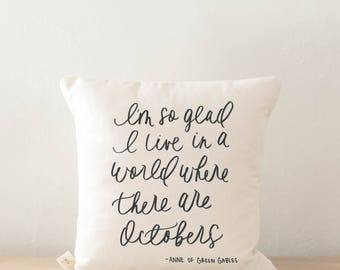 Throw Pillow - Octobers, calligraphy, home decor, fall decor, housewarming gift, cushion cover, throw pillow, seasonal pillow
