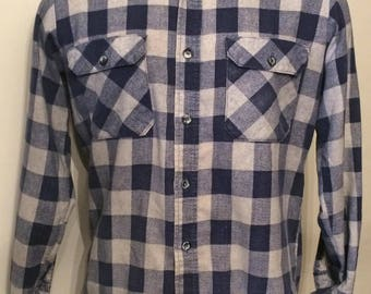 Vintage MENS Fieldmaster blue plaid flannel shirt, size M, made in U.S.A.
