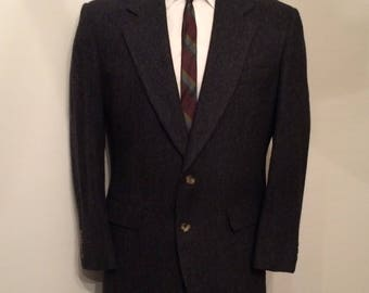 Vintage MENS Bill Blass black & grey herringbone wool tweed blazer, sport coat or jacket, made in U.S.A.