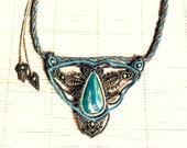 Macrame necklace, chrysocolla gemstone, bohemian jewelry, strong woman choker, boho chic, filigree macrame, virgo, gemini
