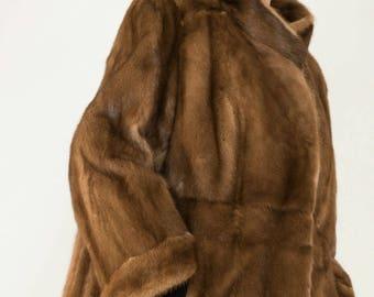 Beautiful Pastel Mink Fur Jacket Coat Full Pelts Excellent like new Vintage Condition Sz L-XL