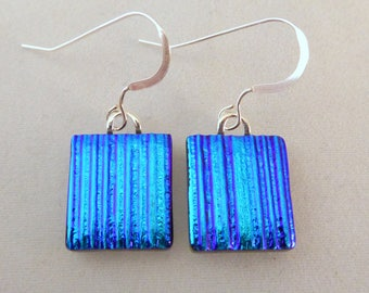 Small Blue Dichroic Glass Dangle Earrings, Fused Glass, Fused Glass Earrings, Glass Earrings, Dichroic Earrings, Dangle Earrings, Dichroic