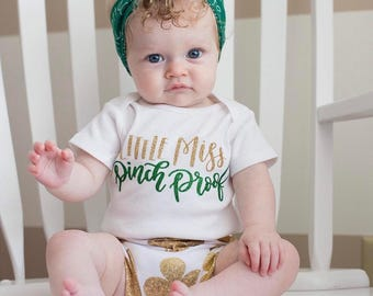 Baby Girls St. Patrick's Day Outfit, St Patty's Day Outfit Baby, St. Patrick's DayTop, Little Miss Pinch Proof, St Patricks' Day Shirt