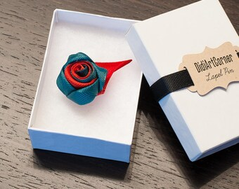 Rose Lapel Pin / Rose Boutonniere / lapel pin flower / Men's Lapel Pin / Teal and Red Rose Lapel Pin / lapel pins men