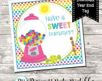 INSTANT DOWNLOAD Have a Sweet Summer End of School Year Square Tag Gift Tag Digital Printable