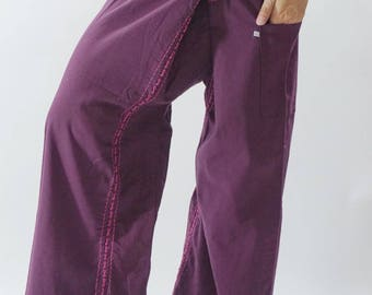 F80071 Hand stitch Unisex Thai fisherman pants, stitch Inseam design for Thai Fisherman Pants Wide Leg pants, Wrap pants