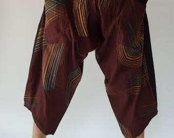 HC0570 samurai pants Handmade pants, Thick Smock Waist Low Crotch, unisex Yoga Harem Pants  - elastic waistband  - Fits all !