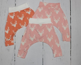 Girls Deer Harem Pants, Baby and Kids Harem Pant Leggings, Buck Forest in Pink and Coral
