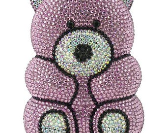 Swarovski crystal Pink or Silver Teddy bear cute kitsch shape Metal case box clutch bag - valentine gift!