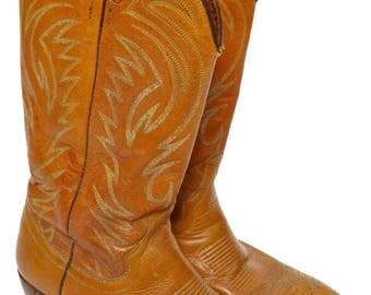 Vintage 80s Dan Post Brown Cowboy Western Boots Sz 9