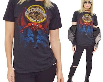 Vintage 80s Black Sabbath Heaven and Hell World Tour T Shirt Sz L