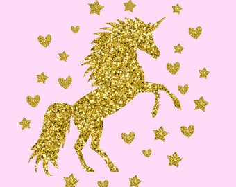 DIY magical Unicorn with Hearts and Stars Sparkly Baby Kids Adult Iron On Decal - Any Custom Glitter Color