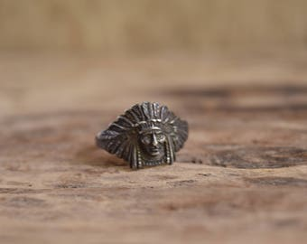 chief head ring - bohemian ring - native american chief ring - sterling silver rings - headdress ring - Indian Head Ring, silver indian ring