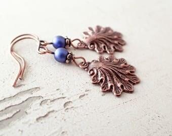 Small Sea Shell Earrings - Antique Copper and Dark Blue Swarovski Pearls - Victorian Mermaid Earrings - Boutique Fantasy Ocean Jewelry