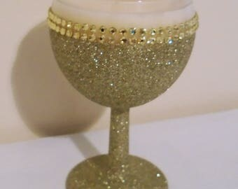 SALE - Wine Glass Candle - Soy Wax - Double Diamante GOLD