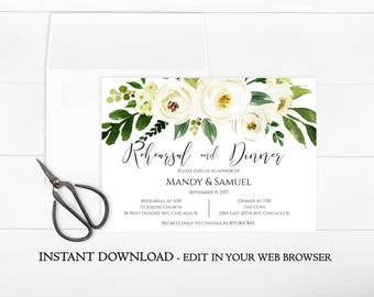 Floral Rehearsal Dinner Invitation Template | Printable Rehearsal U0026 Dinner  Invite White Flower | Garden |  Dinner Invitation Template