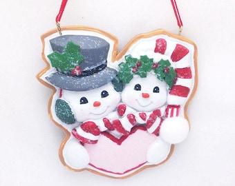 Personalized Christmas Ornament Snowmen Couple / Our First Christmas / Cookie Ornament / Hand Personalized