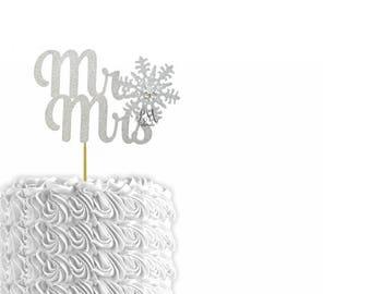 Glitter Mr & Mrs Snowflake Cake Topper - Cake Bunting, Winter Wedding Cake Topper, Winter Wedding, Snowflake Wedding, Christmas Wedding