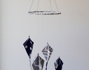Kites Baby Mobile - Grey/ Navy Nursery Decor