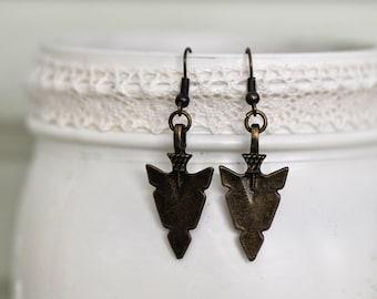 Bronze Arrow Earrings- Arrowhead Earrings- Arrow Earrings- Bronze Earrings- Boho Earrings- Boho Jewelry- Affordable earrings- Gift for Her