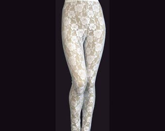 Leggings Tights White Sheer Stretch Lace Medium Unisex Stretch Pants High Waist
